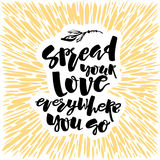 Love and charity concept hand lettering motivation poster. Royalty Free Stock Images