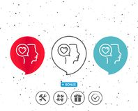 Love chat line icon. Heart symbol. Royalty Free Stock Photo