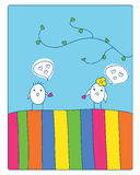 Love. Cheerful card. two cute little birds met and fell in love.  illustration Royalty Free Stock Photo