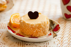 Love cheesecake with chocolate heart Royalty Free Stock Photo