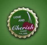 Love and Cherish Themed Bottlecap Stock Image
