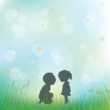 Love during childhood, Vector illustrations Stock Photography
