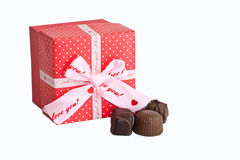 Love and Chocolate. A box with I love you written on it and chocolate candies royalty free stock photo