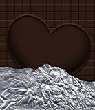 Love chocolate in aluminum foil Stock Images