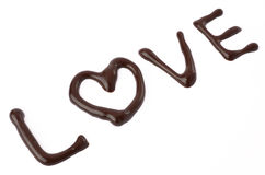 Love chocolate. Isolated on a white background Stock Photos