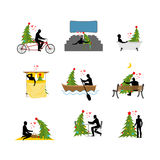 Love for Christmas tree collection. Lover Christmas set. Man and Royalty Free Stock Photos