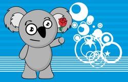 Love chubby koala cartoon expression background Royalty Free Stock Images