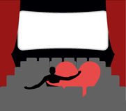 Love in cinema. Man and heart in cinemas. Places for kisses on l. Ast row. Lovers watching movie. Romantic illustration of date at cinema vector illustration