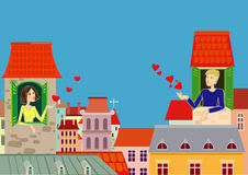Love in the City. A guy and a girl is sent to each other hearts in the old town Stock Photography