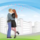 Love in the City. Beloved couple in the city Stock Photo