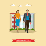 Love in the city concept vector illustration in flat style. Couple walk with buildings on background.  Royalty Free Stock Images