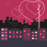 Love in the city. Mobile tower transmits love in the homes Stock Images