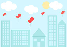 Love cityscape with romantic heart balloon cartoon illustration Royalty Free Stock Images