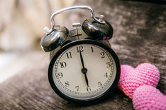 Love clock at 6 o`clock, Time of sweet loving pass memories. Stock Images