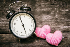 Love clock at 6 o`clock, Time of sweet loving pass memories. Royalty Free Stock Photo