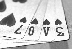 Love. Close up of Poker card of heart Stock Image