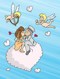 Love clouds. Cloudlets to form of heart for a couple of new bridegrooms Stock Photos