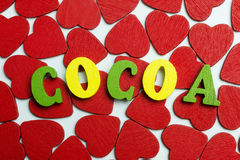 Love cocoa. On the little hearts are the letters Stock Photos