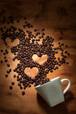 In love with coffee. Coffee beans in heart shape Royalty Free Stock Images