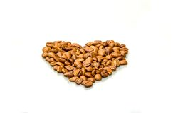 Love coffee. Love heart of coffee beans - coffee lovers symbol Stock Images