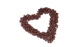 Love of Coffee 3. A heart made from coffee beans. White background royalty free stock photo
