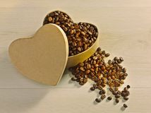 Love Coffee Bean Heart. Love heart shaped box overflowing with roasted coffee beans on cream wood background Royalty Free Stock Photos
