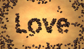 Love Coffee Bean on Old Paper Royalty Free Stock Photography