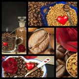 We love coffee. Coffee Collage. Advertising for the sale of coffee. Detailed views of different types of coffee. Decorate store co Stock Images