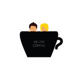 Love coffee with couple color illustration Stock Photography
