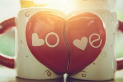 Love coffee cup couple Royalty Free Stock Images