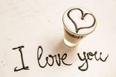 Love coffee cup and handwriting. I love you. Creative card Royalty Free Stock Images