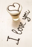 Love coffee cup and handwriting. I love you. Creative card Stock Photo