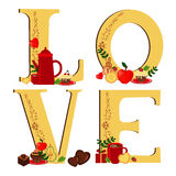 Love with coffee and desert (light) royalty free illustration