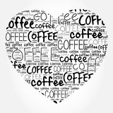 Love Coffee heart words cloud. Collage background Stock Photos