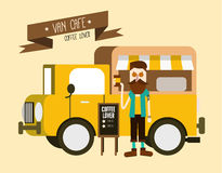 Love coffee. Hipster man with Van cafe delivery. Stock Photo