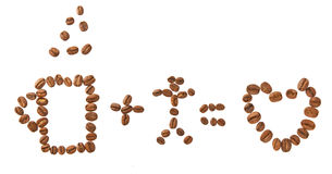 Love coffee and human. Love coffee and people. Laid out coffee beans, isolated Stock Photo