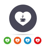 Love Coffee icon. Hot coffee cup sign. Hot tea drink with steam. Round colourful buttons with flat icons. Vector Stock Photos