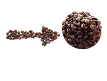 Love coffee made from coffee beans Stock Images