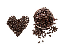 Love coffee made from coffee beans Stock Image