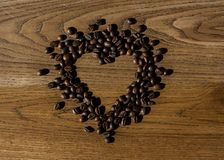 Love coffee. Natural coffee beans.  Stock Photography