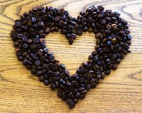 Love coffee. Natural coffee beans.  Royalty Free Stock Photography