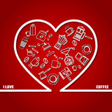 Love Coffee Outline Royalty Free Stock Photos