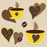 Love for coffee. Set coffee cups with hot coffee and yellow steam on saucers, brown chocolate hearts with coffee beans on a beige. Background vector illustration