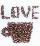 Love Coffee. Love text whit coffee beans concept Royalty Free Stock Photo
