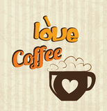 Love coffee time. Over lineal background vector illustration stock illustration