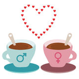 Love coffee. Vector file of two cups of coffee Vector Illustration