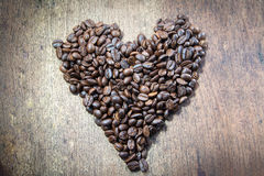 Love of coffee in wood Stock Image