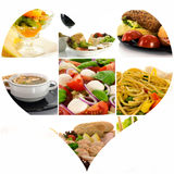 Love collage of fresh healthy food Stock Photos
