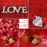 Love collage with red glitter background Royalty Free Stock Image