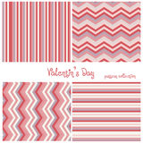 Love collection of four seamless patterns for St. Valentines Day. Colorful hearts made in vector Stock Image